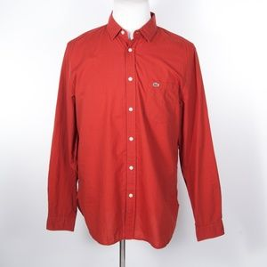Lacoste Dark Orange Garment Dyed Shirt 42/L